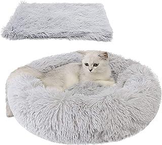 Queta Cama para Mascotas, con una Alfombra Suave para Mascotas, Cama Redondo para Gatos Perros, Cama Suave de Felpa de tamaño Mediano (Cama 60 CM/Alfombra 56 * 36CM) (Gris Clara)