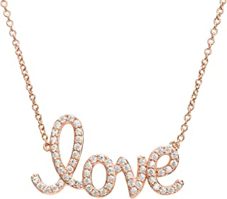 "Eye Candy ECJ-NL0078 Collier da donna, in argento Sterling 925, con placcatura in oro rosa, ciondolo con scritta ""Love"" co..."