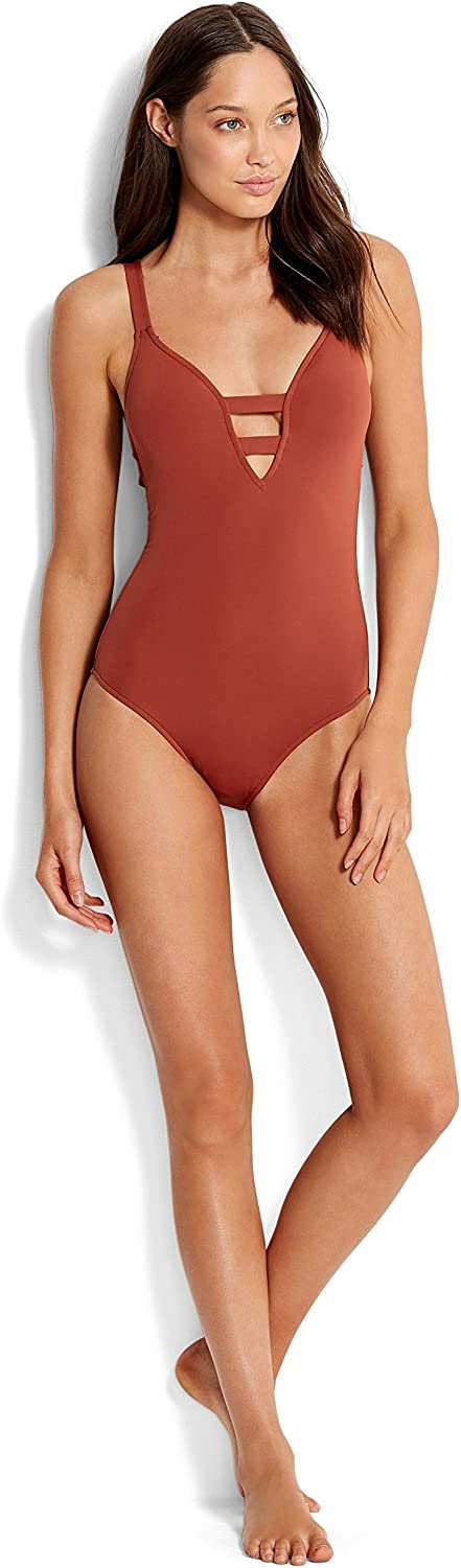 Seafolly Women's Active Deep V Plunge Maillot One Piece Swimsuit