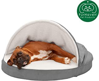 Furhaven Pet Dog Bed | Orthopedic Round Cuddle Nest Snuggery Burrow Blanket Pet Bed w/ Removable Cover for Dogs & Cats - Available in Multiple Colors & Styles