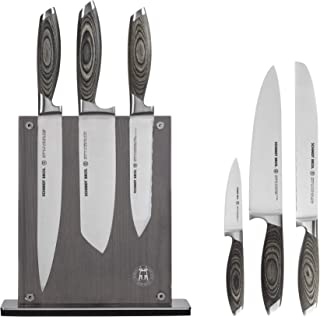 Schmidt Brothers - Bonded Ash, 7-Piece Knife Set, High-Carbon Stainless Steel Cutlery with Ash Wood and Acrylic Magnetic Knife Block