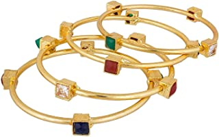 Efulgenz مجوهرات الأزياء الهندي بوليوود 14 ك الذهب مطلي فو كوندان كريستال أساور أساور مجموعة أساور أساور
