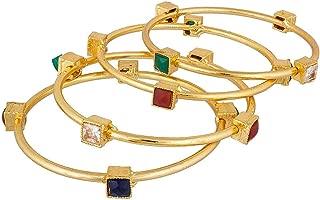 Fashion Jewelry Indian Bollywood 14 K Gold Plated Faux Kundan Crystal Bracelets Bangle Set (4 Piece)