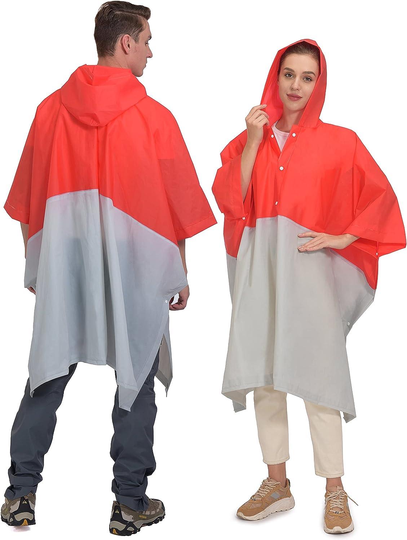 Little Donkey Andy Portable EVA Raincoats for Adults, Reusable Emergency Rain Ponchos with Hood Rain Gear Jacket