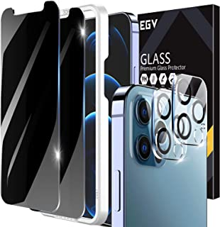 4 Pack-EGV 2pcs Privacy Screen Protector and 2pcs Camera Lens Protector Compatible with iPhone 12 Pro Max 6.7-inch, Temper...
