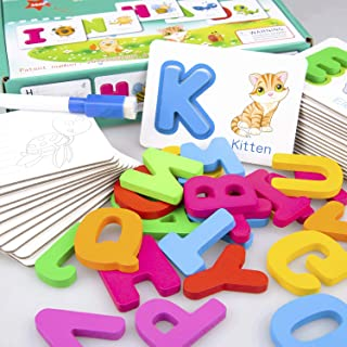 Baby Noah Toddler Alphabet Wooden Jigsaw Puzzle Flash Cards   Interactive Wipe Clean, Learn to Write, Dry Erase ABC Letter Activity Cards   Color Recognition Educational Toys Age 3 Preschool and Up
