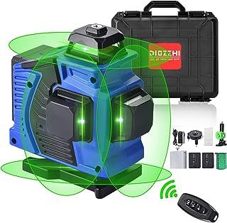 16ラインレーザー墨出し器、4D自動セルフレベリング緑色レーザー墨出し器、4x360°クロスライン、2本垂直ラインと2本水平ライン、充電式電池、リモートコントロール、レーザー輝度調整可能、屋内外建築内装工具