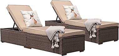 Patiorama Patio Chaise Lounge Chair, Sun Lounger, Outdoor Pool Beach Brown PE Rattan Wicker Reclining Chair W/Adjustable Back