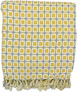 noyydh محبوك صفراء مربع بطانية صغيرة بطانية ل أريكة الديكور، بطانية واحدة لاستراحة الغداء المكتبي، 230x130cm