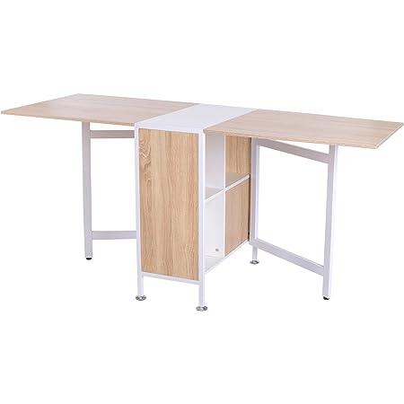 Table pliable de cuisine salle à manger 4 niches intégrées dim. dépliées 169L x 62l x 75H cm MDF chêne clair acier blanc