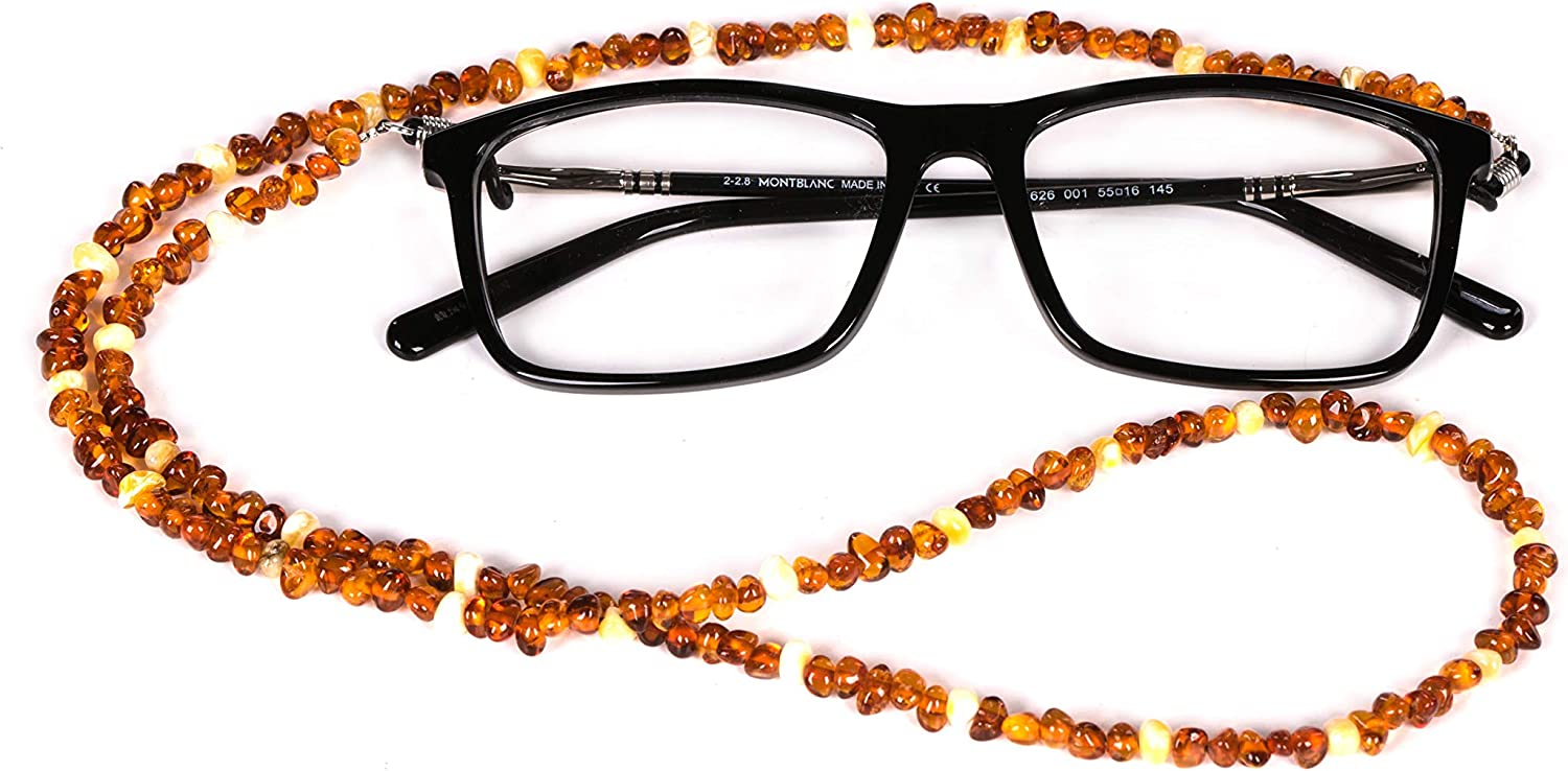AMBERAGE Natural Baltic New Orleans Mall Selling and selling Amber -Sunglasses beaded Hold Eyeglasses