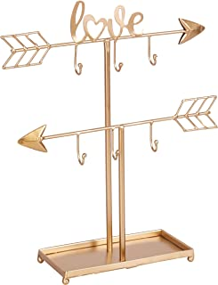 Kleanner 2 Tier Love Arrow Jewelry Organizer Stand, Metal Jewelry Display Tree Rack with Ring Tray, Decorative T-bar Jewelry Holder for Necklace, Bracelet and Watch, Gold