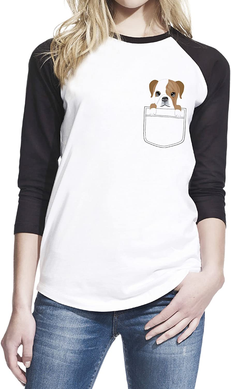 Pop Threads Funny Dogs Gifts for Dog Lover Puppy Doggo Cute Raglan Baseball Tee Shirt