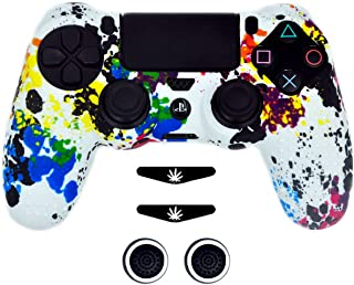 Taifond Anti-Slip Silicone Controller Cover Protective Skins for PS4/SLIM/PRO Controller with 2 Thumb Grip Caps& 2 LED Light Bar(Colorful)
