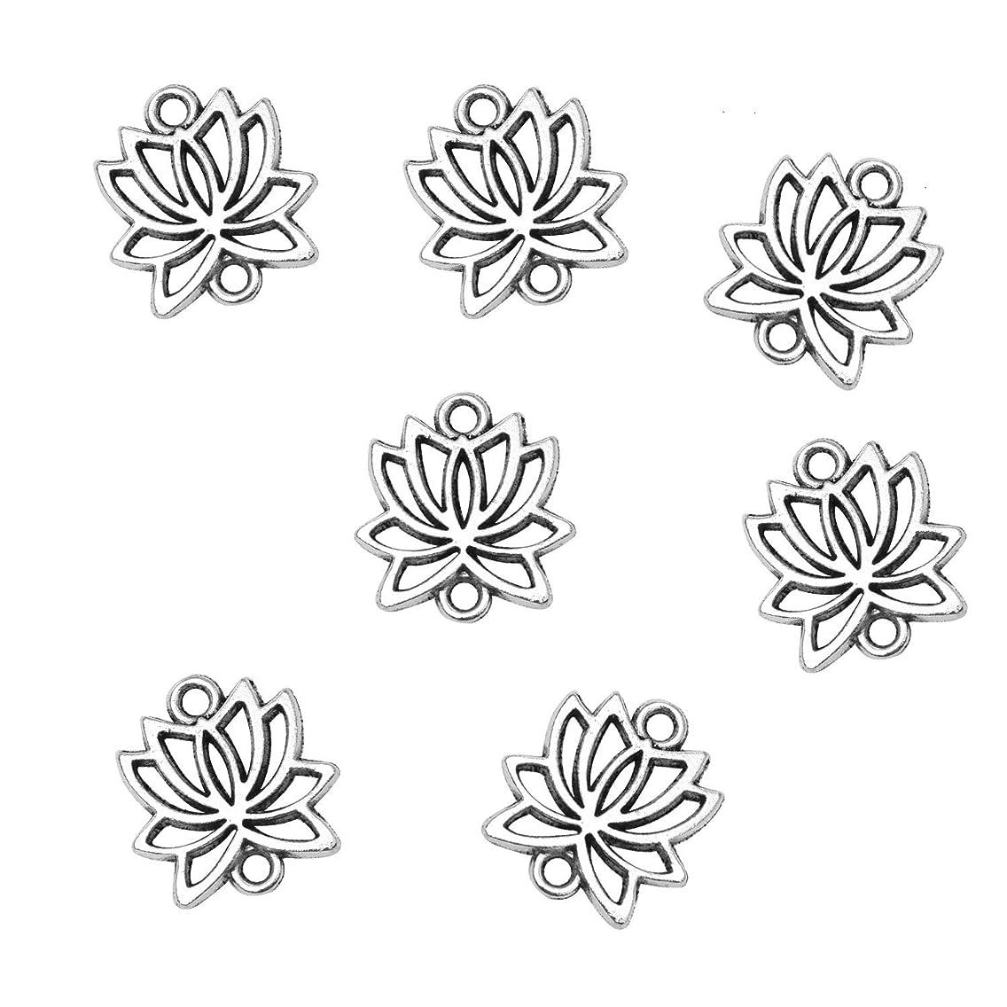 Monrocco 100 Pcs Antique Silver Tone Alloy Metal Lotus Flower Connector Charm Pendant Bulk Bracelets Charm for Jewelry Making