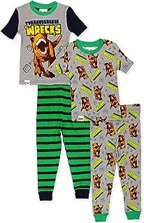 Jurassic World Boy's 2fer 4 Piece Short Sleeve Cotton Pajamas Set