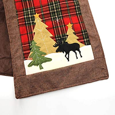 Inked and Screened Red Buffalo Plaid Runner Christmas Decorations Table Runner Cotton & Linen Xmas Tree Reindeer Tablerunner for Family Dinner Table Decoration 14x72 Inches