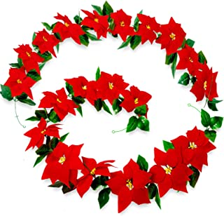 Whaline 2pcs Christmas Poinsettia Flower Garland Decorations 6.4ft Artificial Poinsettia with Holly Leaves Poinsettia Orna...