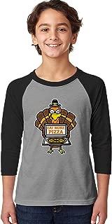 SpiritForged Apparel Eat More Pizza Turkey Youth 3/4 Raglan Shirt