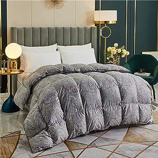 Duvet, Bedding Comforters, Fluffy Comforter Goose Down Comforter Queen Size Duvet Insert, 100% Natural Cotton Print Shell,...