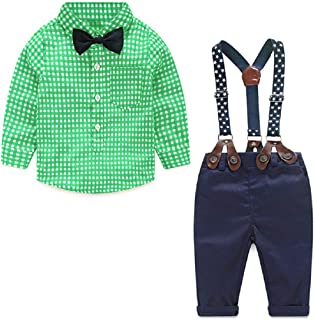 little dragon pig Baby Boy Suit Toddler Gentlemen Outfit Long Sleve Tshirt Suspender Pants Tuxedo