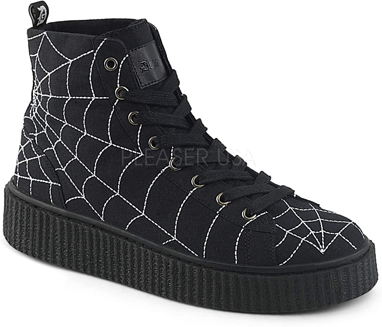 Demonia 1 1 2 Inch Platform Round Toe Lace-Up Front High Top Creeper Sneaker