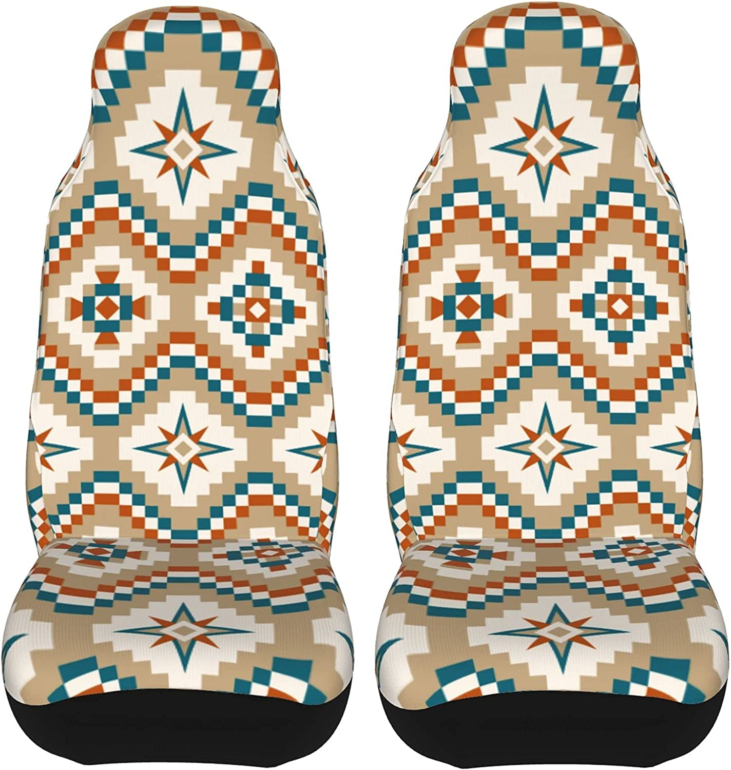 Burnt Orange Teal Tan Cream 2 Pcs Vehicle Seat Covers online shop All items in the store Fr Set Car