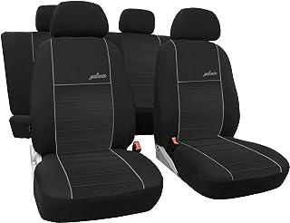 3er Set Saferide Autositzbezüge PKW universal   Auto Sitzbezüge Polyester Grau für Airbag geeignet   für Vordersitze und Rückbank   1+1 Autositze vorne und 1 Sitzbank hinten teilbar 2 Reißverschlüsse