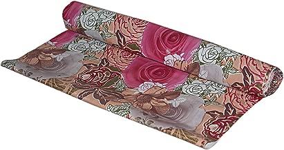 Kuber Industries Flower Design PVC Wardrobe Kitchen Drawer Shelf Mat - Pink, 10M Roll (CTKTC05366)