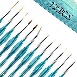 12PCS Fine Paint Brush Detail Paint Brush Set, Small Paint Brushes for Fine Detailing & Art Painting, Acrylic, Watercolor,...