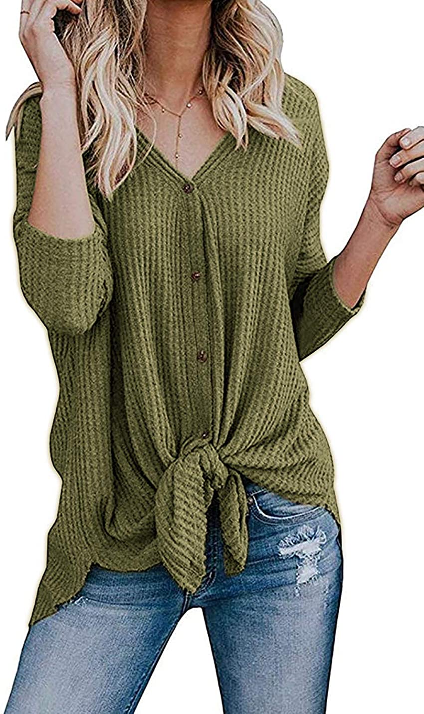 Cowear Women's S-3X Tie Front Sweater Cardigan Blouses Casual Waffle Knit Thermal Tops