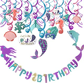 Mermaid Party Decoration Favor Supplies Set(31pack),Mermaid Hanging Swirls and Adorable Mermaid Shape Birthday Banner, Ideal For Birthday Party ,Baby Shower,Mermaid Theme Party ,Under The Sea Party