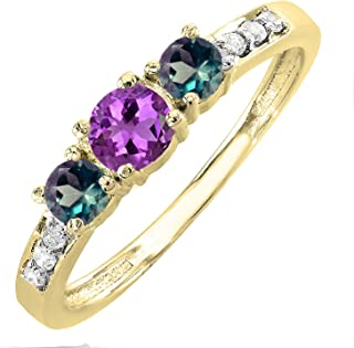 5 MM Round Amethyst and Side Diamond(Natural) and 4 MM Lab Created Alexandrite Three Stone Engagement Ring, 14K Gold