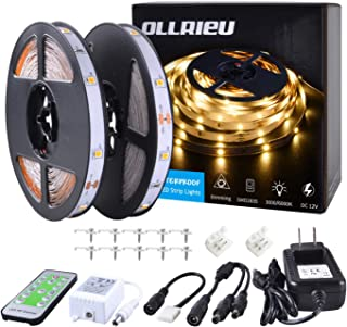 ollrieu LED Strip Light Warm White Dimmable,24.6ft/7.5m Non-Waterproof Indoor String Light 12V 225 Units SMD 2835 LEDs RF ...