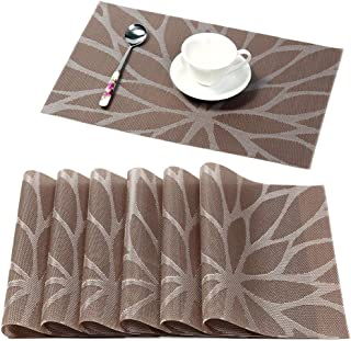 HEBE Placemats for Dining Table Set Of 6 Durable Woven Vinyl Kitchen Table Mats Washable Heat Resistant Stain-resistant No...