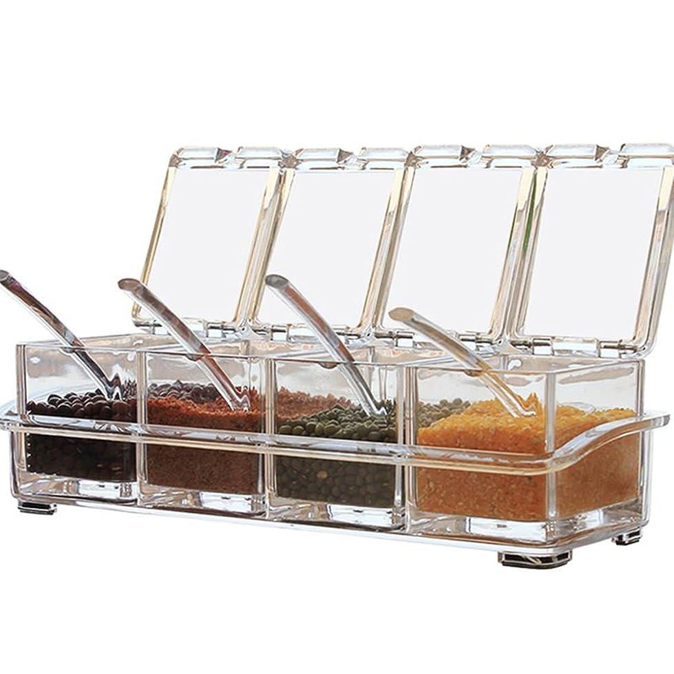 不良品癌スカイHom Mall 調味料入れ 调味料ボトル 調味料ボックス 調味料ケース スパイス ラック 塩 コショウ 砂糖入れ 家庭キッチン用 有機ガラス 透明 瓶 アクリル 保存容器 匙付け 四個セット