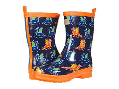 Hatley Kids Dragons Shiny Rain Boots (Toddler/Little Kid) (Blue) Boy