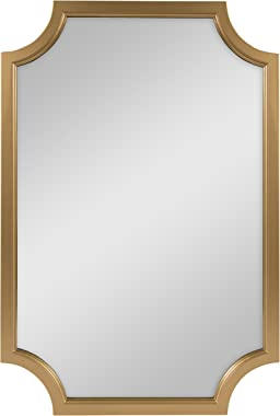 Kate and Laurel Hogan Wood Framed Wall Accent Mirror with Scalloped Corners, 24x36 Inches, Gold