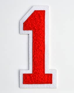 Varsity Number Patches - Red Embroidered Chenille Letterman Patch - 4 1/2 inch Iron-On Numbers (Red, Number 1 Patch)