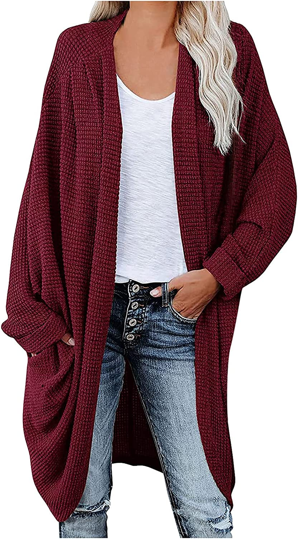 RUIY Cardigan for Women,Womens Open Front Knit Cardigan Long Batwing Sleeve Sweater Chunky Waffle Cable Boho Coat