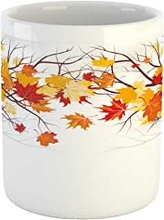 Ambesonne Fall Mug, Image of Canadian Maple Tree Leaves in Autumn Season with Soft Reflection Effects, Ceramic Coffee Mug Cup for Water Tea Drinks, 11 oz, White Orange