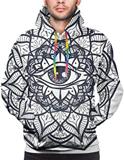 Men's Hoodies Sweatershirt,Abstract Ornamental Eye with Ethnic Mandala Form Providence Energy in Action Design,
