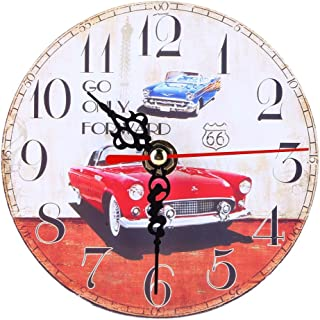 Whitelotous Vintage Car Wooden Decorative Round Wall Clock Retro Style Arabic Numerals Design Home Decoration (Style E)