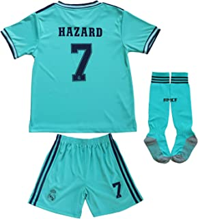 2019/2020 New Hazard No #7 Real Madrid Third Green Blue Kids Soccer Jersey Kit Shorts Socks Set Youth Sizes