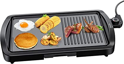 IKICH Electric Griddle Indoor, 1600W Smokeless Nonstick Electric Pancake Grill with Drip Tray, Family Size Electric Griddle Grill, 2-in-1, Cool-touch Handle