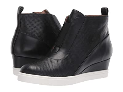 LINEA Paolo Anna Wedge Sneaker (Black Perforated Nappa Leather) Women