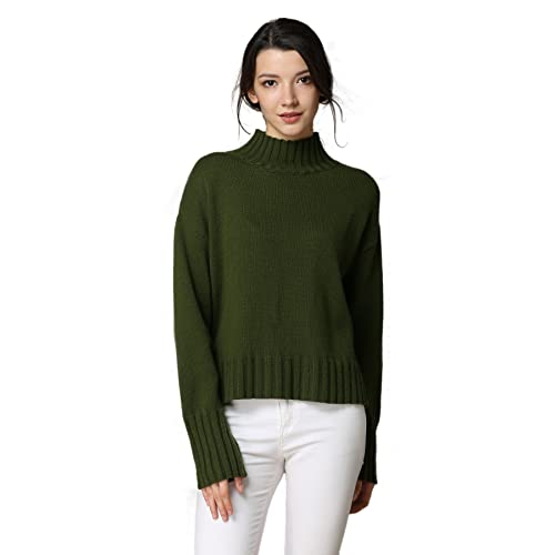 MEEFUR Women s Long Sleeve Wool Knitted Mock Neck Sweater Loose Fit Tops  Winter Crew Neck Pullover 60fbce2bb