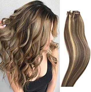 Human Hair Extensions Clip in Light Brown to Blonde Highlights 14 inch Real Human Hair balayage Ombre 7 PCS Full Head Silky Straight Long Clip on Hair Extensions 70g Remy Hair