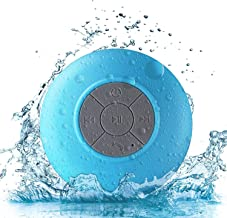 Bluetooth Shower Speaker, Water Resistant Wireless Bluetooth Speaker,Control Buttons and Dedicated Suction Cup (Build-in Microphone, Solid Suction Cup, 6 hrs Play Time) (Azul)
