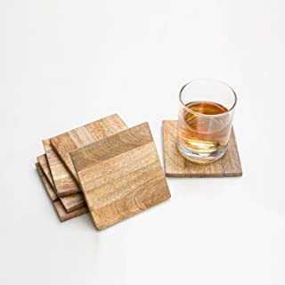 Rusticity Cool Wood Coaster Set of 6 - Square Design  Handmade   (4x4in)